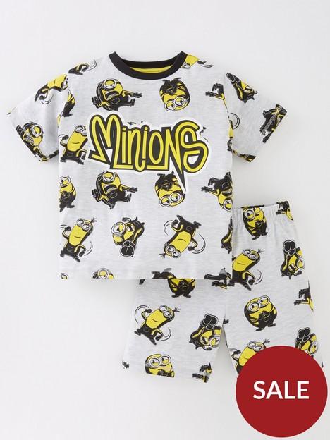 minions-boysnbspall-over-print-shorty-pjs-grey