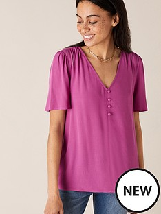monsoon-button-front-v-neck-top-pink