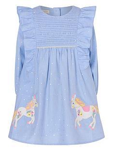 monsoon-baby-girls-chambray-foil-spot-horse-dress-blue