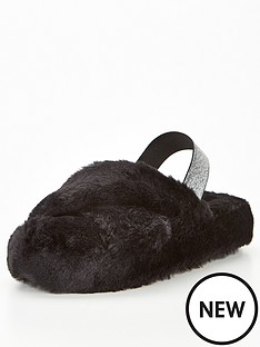 v-by-very-village-faux-fur-slingback-slipper-black