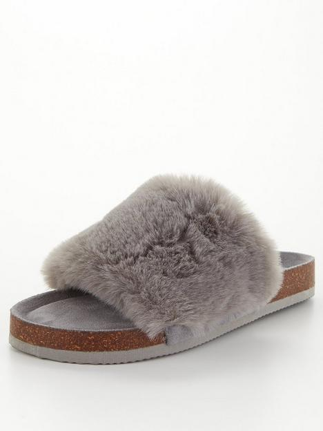 v-by-very-faux-fur-slider-slipper-grey