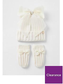 river-island-mini-girls-bow-hat-ampnbspglove-set-cream