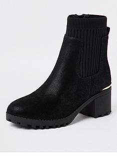 river-island-girls-elasticated-heeled-bootnbsp-nbspblack