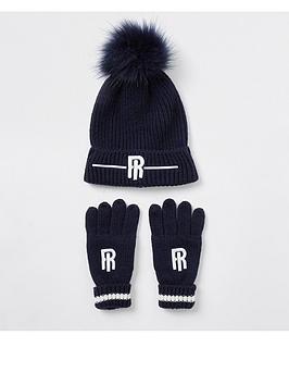 river-island-boys-ri-logo-knitted-beanie-and-glove-set--nbspnavy