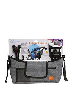 dreambaby-on-the-go-grey-denim-stroller-kit-bag-cup-and-hooks