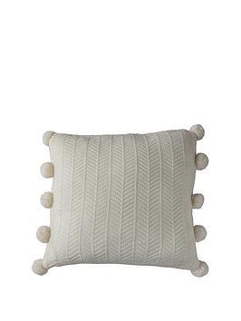Product photograph showing Gallery Herringbone Pom Pom Cushion - Cream