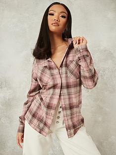 missguided-missguided-oversized-check-shirt-pink