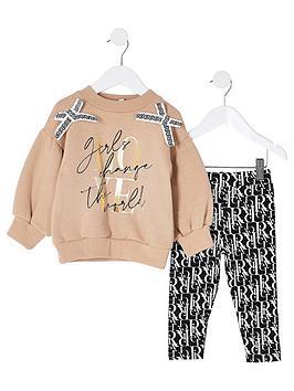 river-island-mini-mini-girls-bow-sweat-and-legging-set--nbspcaramel