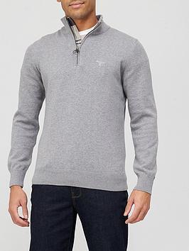 barbour-cotton-half-zip-sweat-top-grey