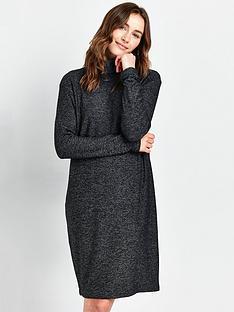 wallis-soft-knit-roll-necknbspdress-grey