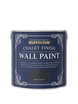 Product photograph showing Rust-oleum Chalky Finish 2 5-litre Wall Paint Ndash Natural Charcoal