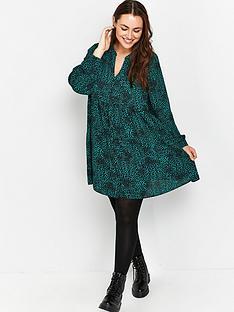 evans-pebble-print-waisted-tunic-green