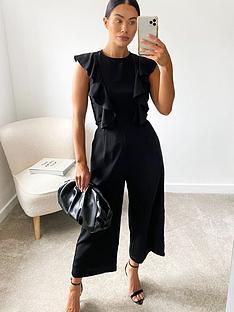 ax-paris-ruffle-three-quarter-jumpsuit-black