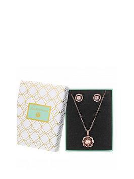 jon-richard-rose-gold-plated-crystal-round-pendant-set