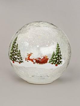 festive-20cm-battery-operated-lit-crackle-ball-santa-sleigh