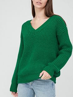 v-by-very-v-neck-chunky-knit-rolled-trim-knitted-jumper
