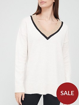 v-by-very-v-neck-tipping-detail-knitted-jumper-ivory