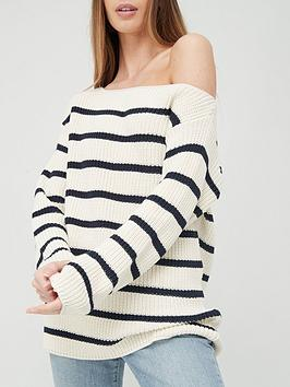 v-by-very-slouchy-off-the-shoulder-stripe-knitted-jumper-ivorynavy