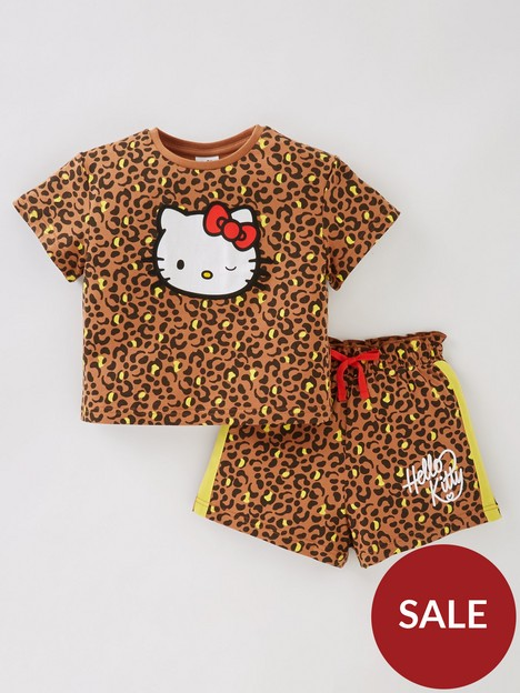 hello-kitty-girlsnbsp2-piece-leopard-print-top-and-shortsnbspset-multi
