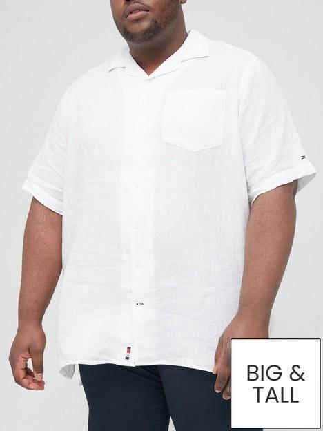 tommy-hilfiger-big-amp-tallnbspdyed-linen-camp-collar-short-sleeve-shirt-whitenbsp