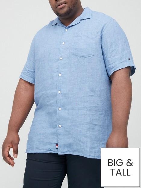 tommy-hilfiger-big-amp-tallnbspdyed-linen-camp-collar-short-sleeve-shirt-denim-bluenbsp