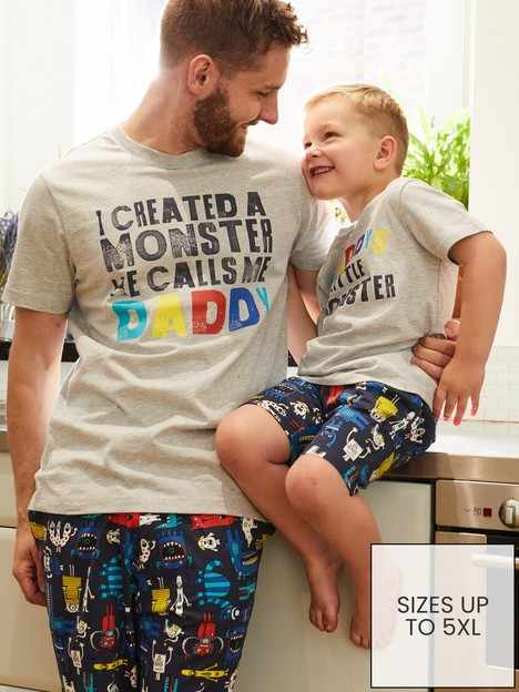 very-man-fathers-day-i-created-a-monster-shorty-pjnbspset-greywhite