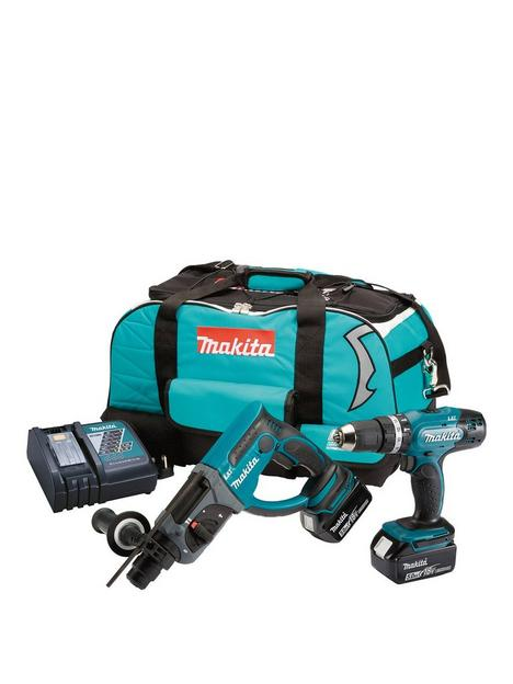 makita-makita-18v-lxt-combi-drill-sds-drill-2-x-5ah-batteries-fast-charger-kit-bag