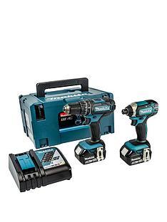 makita-makita-18v-lxt-combi-drill-impact-driver-2-x-5ah-batteries-fast-charger-case