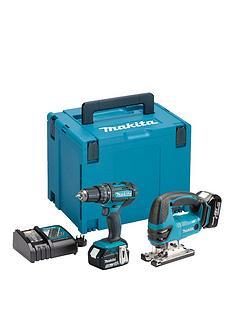 makita-makita-18v-lxt-combi-drill-jigsaw-2-x-5ah-batteries-fast-charger-case