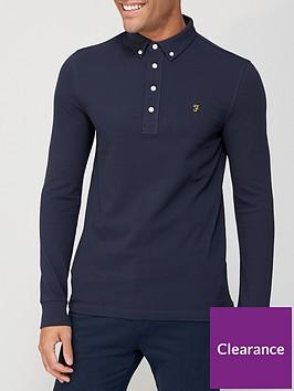 farah-ricky-long-sleeve-pique-polo-shirt-navy