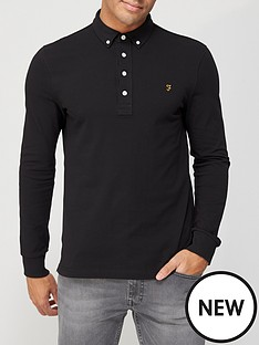 farah-ricky-long-sleeve-pique-polo-shirt-black