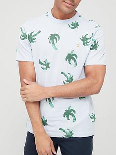 farah-elvido-palm-print-t-shirt-blue