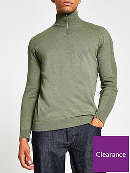 river-island-half-zip-slim-fitted-knit-greennbsp
