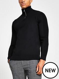 river-island-half-zip-slim-fitted-knit-blacknbsp