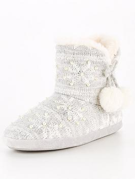 v-by-very-amber-snowflake-knit-slipper-boot-grey