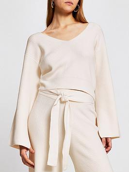 river-island-bow-back-knitted-lounge-top-cream