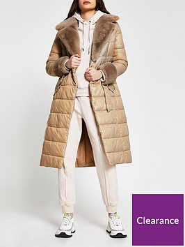 river-island-faux-fur-longline-padded-coat-cream