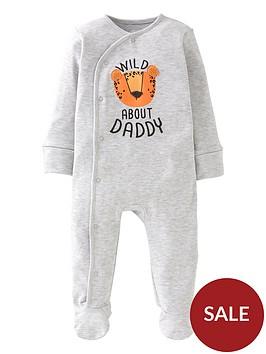 mini-v-by-very-baby-boys-wild-about-daddy-sleepsuit-grey