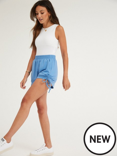 michelle-keegan-ruched-side-jersey-short-blue