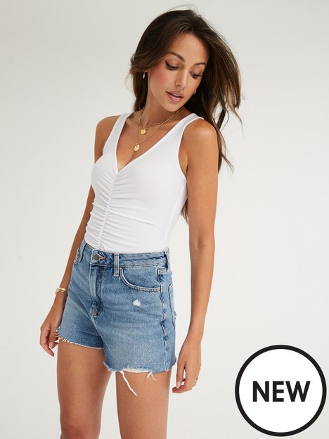 michelle-keegan-ruched-front-jersey-bodysuit-white