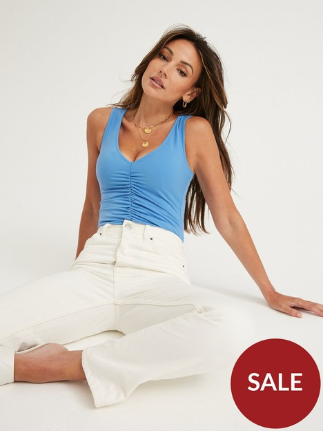 michelle-keegan-ruched-front-jersey-bodysuit-blue
