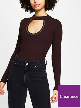 river-island-embellished-choker-knitted-top-burgundy