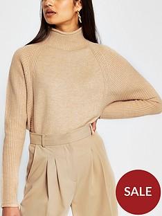 river-island-funnel-neck-knitted-jumper-light-brown