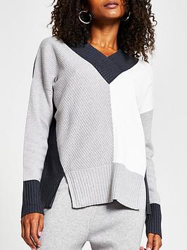 river-island-v-neck-knitted-jumper-colourblock