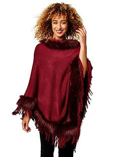 joe-browns-winters-tale-faux-fur-poncho-red