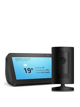 Product photograph showing Ring Stick-up Cam Battery Amp Amazon Echo Show 5 - Black - Stick Up Cam Black