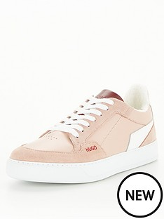 hugo-leather-and-suede-mix-trainers-pink