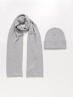 hugo-cable-hat-andnbspscarf-set-grey