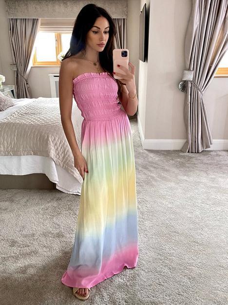 michelle-keegan-ombre-casual-bandeau-maxi-dress-multi