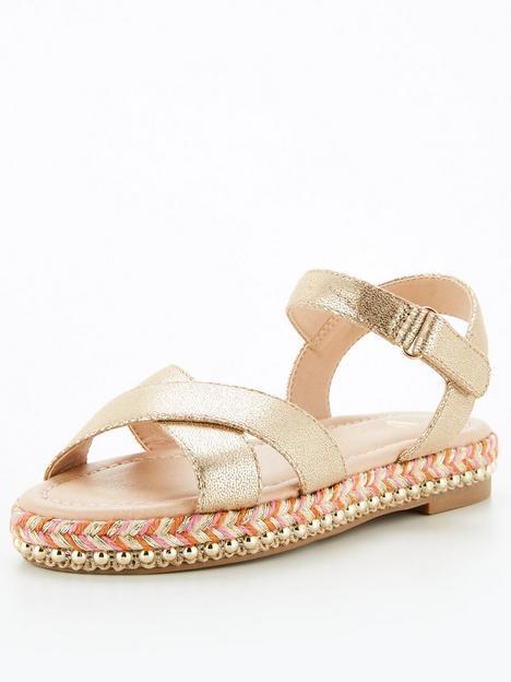 v-by-very-girls-stud-trim-sandal-gold